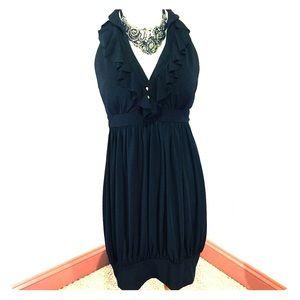 Black Plunging Ruffle Neckline Cocktail Dress